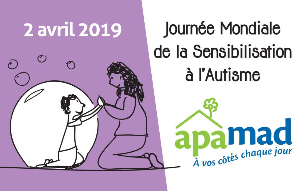 APAMAD organise une soirée de sensibilisation à l'autisme à l'occasion de la journée mondiale, le 2 avril à 19h à Guebwiller. Ouverte à tous, sur inscriptions. Diffusion d'un long métrage, échanges avec les professionnels, cocktail dinatoire